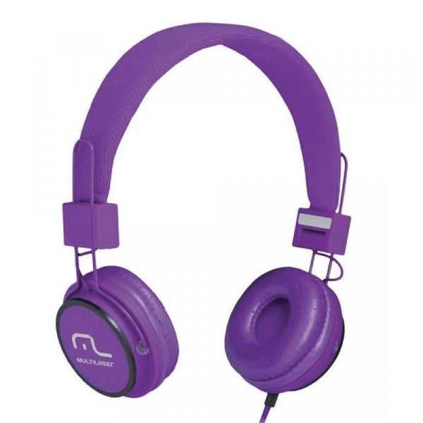 Headphone Head Fun com Microfone P2 3,5mm Hi-Fi Roxo - Multilaser - PH