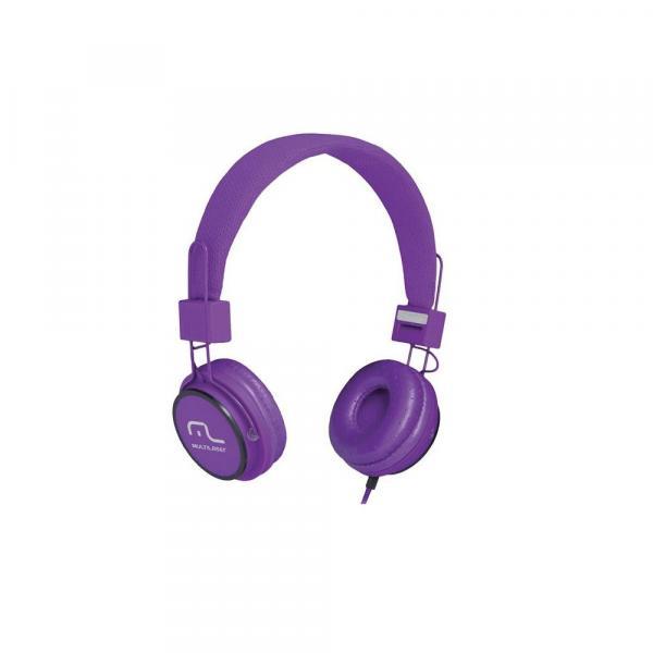 Headphone Head Fun com Microfone P2 3,5mm Hi-Fi Roxo - Multilaser