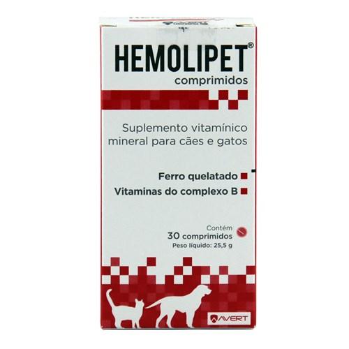 Hemolipet 30 Comp Avert Suplemento Cães e Gatos