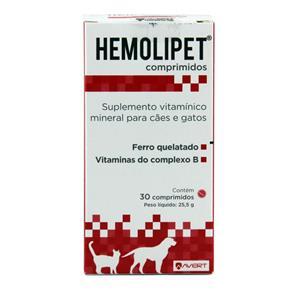 Hemolipet 30 Comprimidos Suplemento Cães e Gatos - Avert