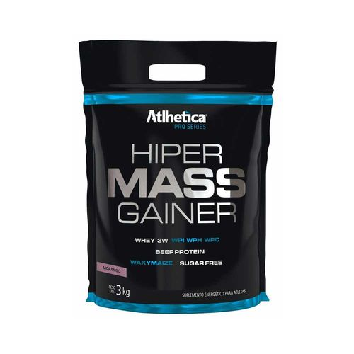 Hiper Mass Gainer Pro Series 3Kg - Morango - Atlhetica Nutrition