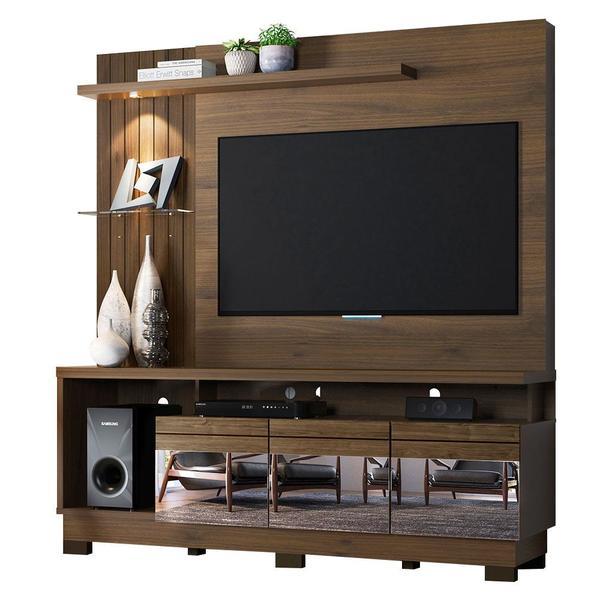 Tudo sobre 'Home para TV com Luz LED, Espelho e 3 Gavetas Manaus Nogal Café'