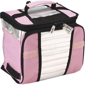 Ice Cooler Dobrável com Alça e Bolsos 7.5 Litros 9 Latas Mo - Selecione=Rosa