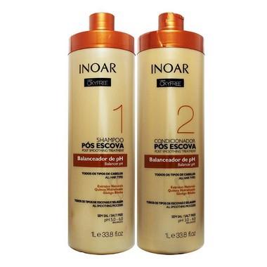 Inoar Oxyfree Kit Shampoo e Condicionador Pós Escova 1L