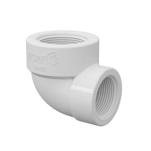 """Joelho de Redução 90° Branco PVC Roscável 1""""x3/4"""" Tigre"""