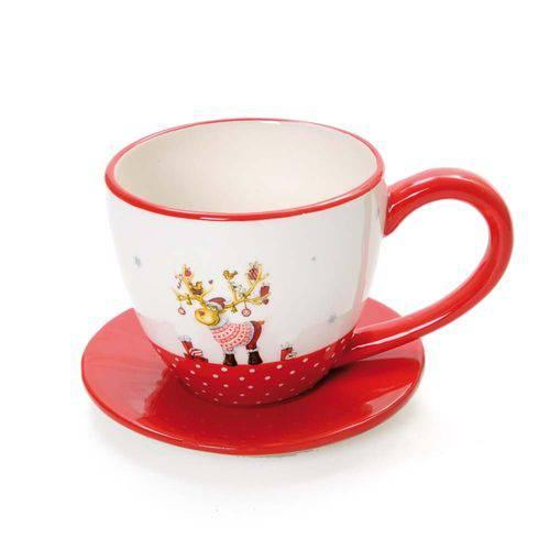 Tudo sobre 'Jogo 4 Xícaras C/ Pires Chá Café Mesa Natal Cerâmica Vermelha'
