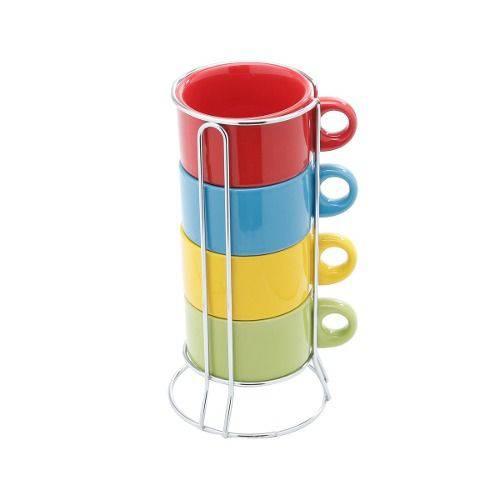 Tudo sobre 'Jogo 4 Xícaras Café Porcelana 200ml Colorida com Suporte'