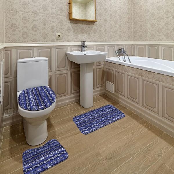 Jogo de Banheiro Abstrato Azul Marinho - Mdecore