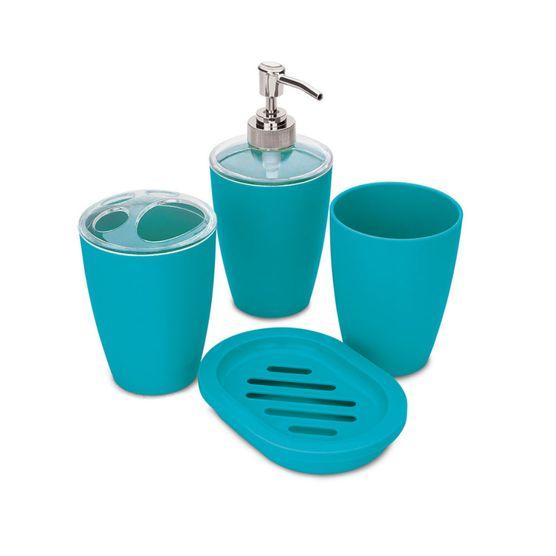 Tudo sobre 'Jogo de Banheiro com 4 Peças Hauskraft Azul'