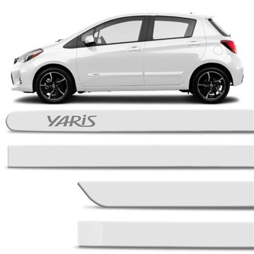 Jogo de Friso Lateral Yaris Hatch Sedan 2018 e 2019 Branco Perolizado com Grafia Tipo Borrachão