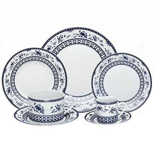 Jogo de Jantar 42 Peças Bon Gourmet Regina Azul em Porcelana Mail Box