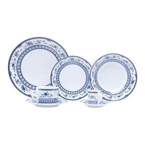 Jogo de Jantar Regina Mail Box - 42 Peças - em Porcelana - Bon Gourmet - Azul