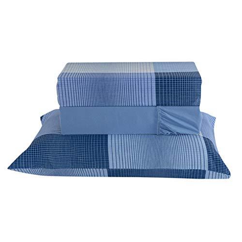Jogo de Lençol Solteiro Percal 180 Fios 3 Peças - Xadrez Azul