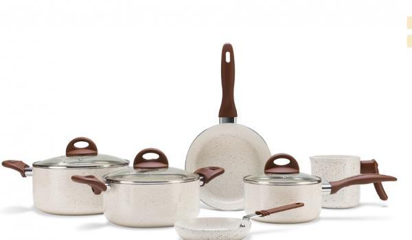 Jogo de Panelas 6 Peças - Ceramic Life Smart Plus - Vanilla - VANILLA Brinox