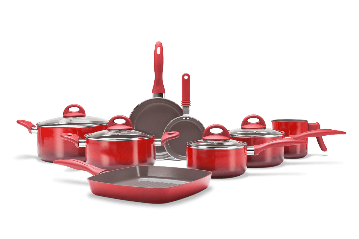 Jogo de Panelas 8 Peças - Ceramic Life Smart Plus - Vermelho Vermelho Brinox