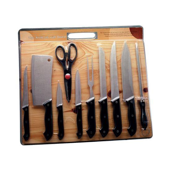 Tudo sobre 'Jogo Util para Cozinha com Tábua de Madeira 11 Peças'