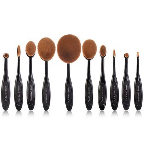 Tudo sobre 'Kit 10 Pc Pincel Escova Oval Maquiagem'