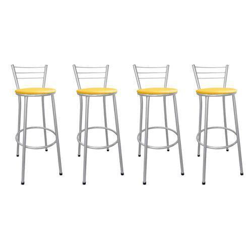 Tudo sobre 'Kit 4 Banquetas Bistrô Aço Cinza e Assento Amarelo'
