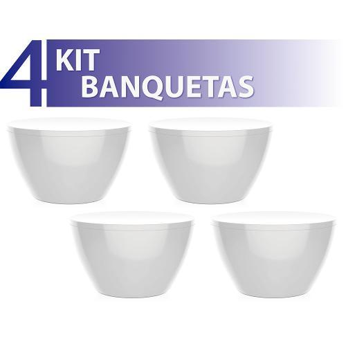 Kit 4 Banquetas Oxy Color Branco