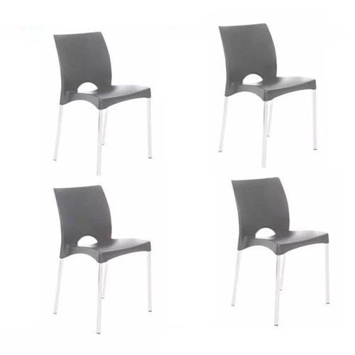 Kit 4 Cadeiras Boston Cinza
