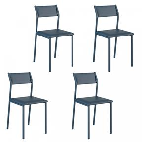 Kit 4 Cadeiras Carraro- 1709 - 1709 - Azul Marinho