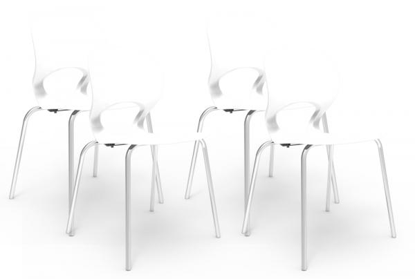 Kit 4 Cadeiras Eclipse Branco - Im In