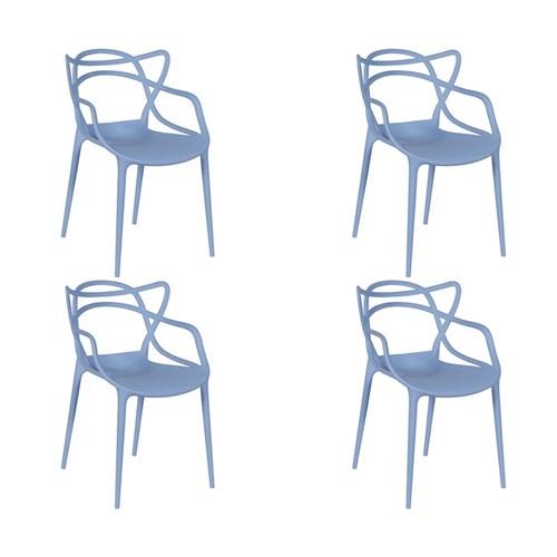 Kit 4 Cadeiras em Polipropileno Azul