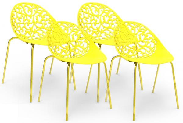 Kit 4 Cadeiras Fiorita Amarelo - Im In