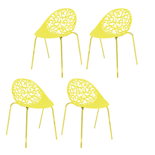 Kit 4 Cadeiras Fiorita Amarelo