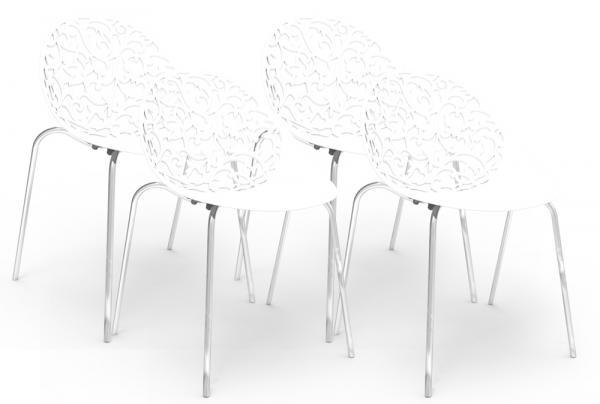 Kit 4 Cadeiras Fiorita Branco - Im In