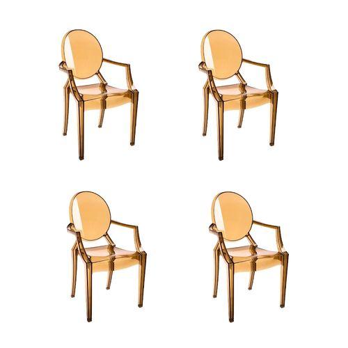 Kit 4 Cadeiras Ghost com Braço