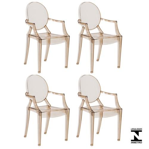 Kit 4 Cadeiras Louis Ghost Ambar