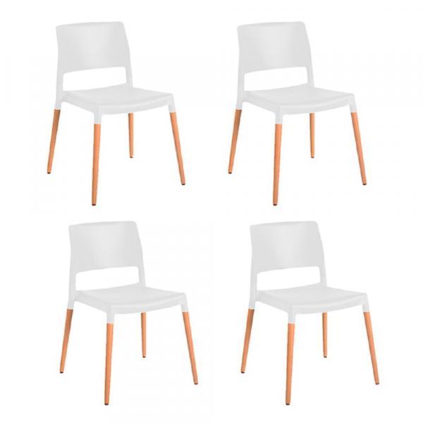 Kit 4 Cadeiras Marina Branca - Gardenlife