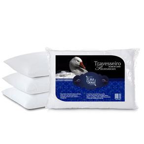 Kit 4 Travesseiros Pluma de Ganso Premium 50x70cm Casa Dona 200 Fios Branco - BRANCO