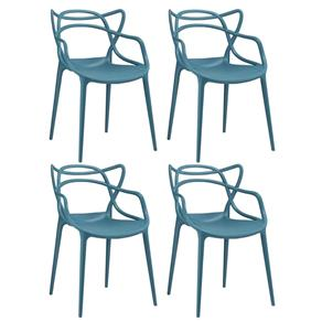 KIT - 4 X Cadeiras Allegra - AZUL TURQUESA
