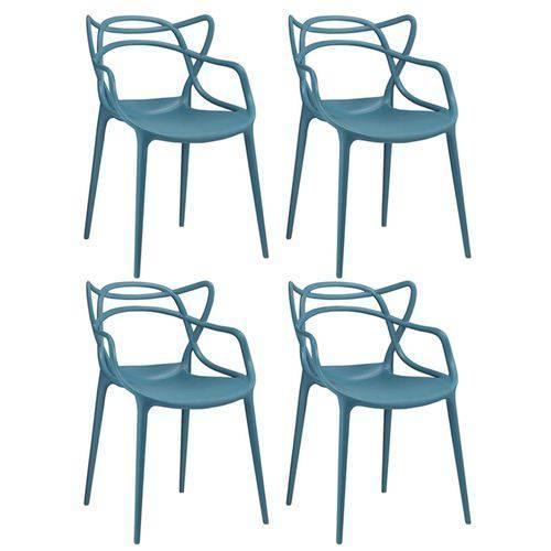 KIT - 4 X Cadeiras Masters Allegra - Turquesa