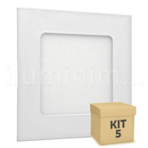 Kit 5 Plafon 6w Luminaria Embutir Painel Teto Led Spot 12 X 12