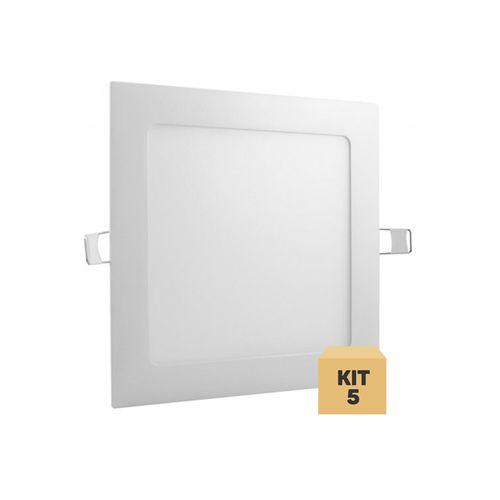Kit 5 Luminária Plafon Led 12w Embutir Quadrado Branco Quente