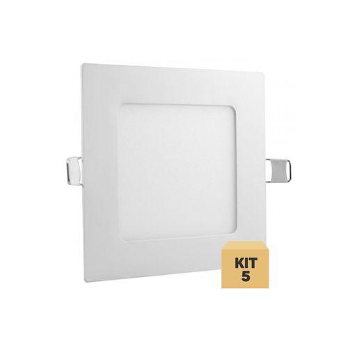 Kit 5 Luminária Plafon Led 6w Embutir Quadrado Branco Quente