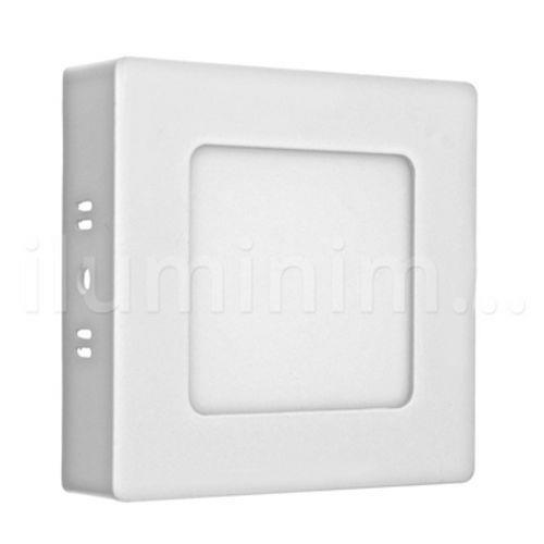 Kit 5 Luminária Paflon Led Branco Frio Quadrado Sobrepor 6w