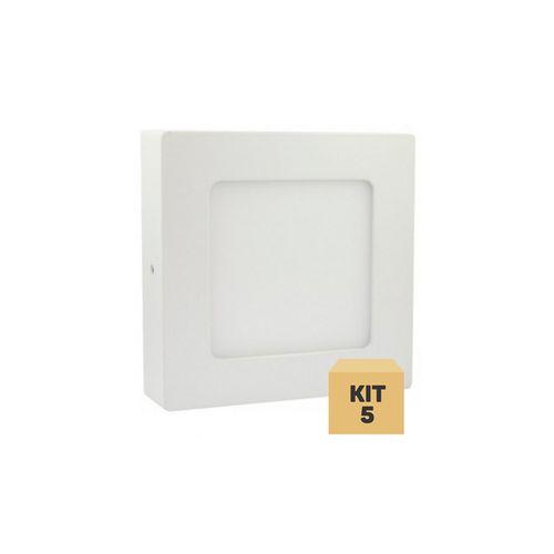 Kit 5 Luminária Plafon Led 6w Sobrepor Quadrado Branco Frio