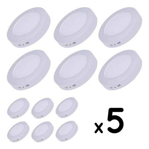 Kit 5 Painel Plafon Led Sobrepor Redondo 6w Luminária - Branco Quente