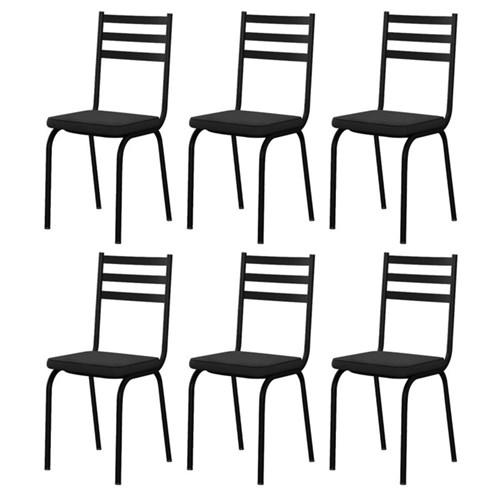 Kit 6 Cadeiras 118 Europa Preto - Artefamol