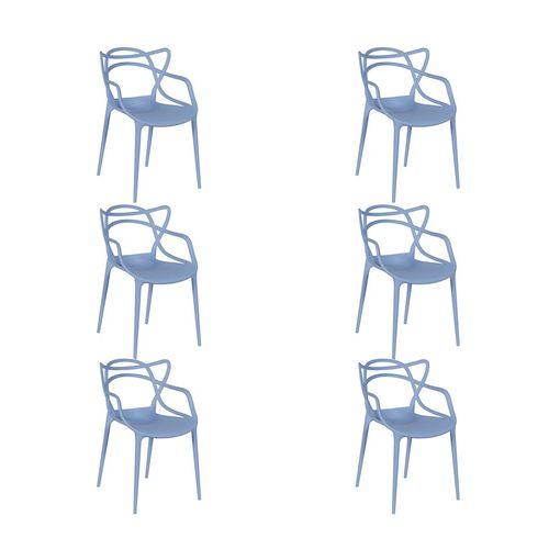 Kit 6 Cadeiras em Polipropileno Azul