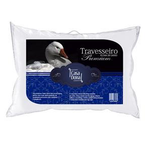 Kit 6 Travesseiros Pluma de Ganso Premium 50x70cm Casa Dona 200 Fios Branco - BRANCO