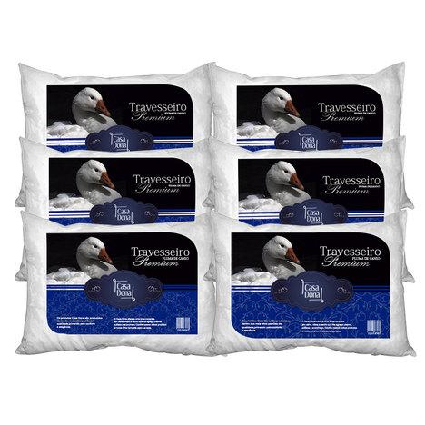 Kit 6 Travesseiros Pluma de Ganso Premium 50X70cm Casa Dona 200 Fios Branco