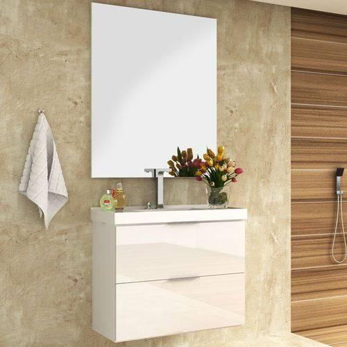 Tudo sobre 'Kit Banheiro Gabinete 80cm Pia e Espelho Pietra Branco - Bosi'