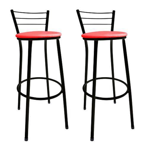 Tudo sobre 'Kit 2 Banquetas Bistrô Aço Preto e Assento Vermelho'