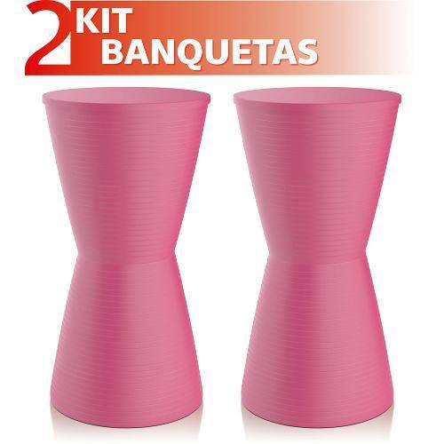 Kit 2 Banquetas Dub Color Rosa