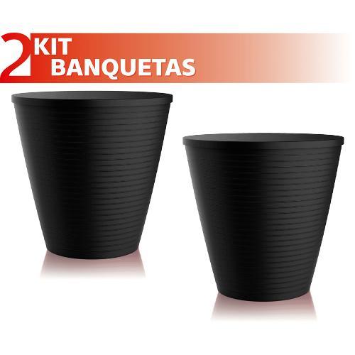 Kit 2 Banquetas Fluo Color Preto